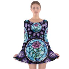 Cathedral Rosette Stained Glass Beauty And The Beast Long Sleeve Skater Dress