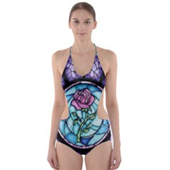 Cathedral Rosette Stained Glass Beauty And The Beast Cut-Out One Piece Swimsuit