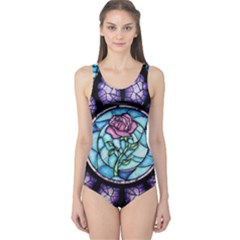 Cathedral Rosette Stained Glass Beauty And The Beast One Piece Swimsuit