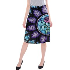 Cathedral Rosette Stained Glass Beauty And The Beast Midi Beach Skirt