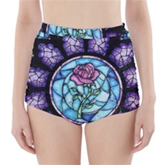 Cathedral Rosette Stained Glass Beauty And The Beast High-Waisted Bikini Bottoms