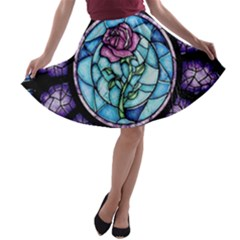 Cathedral Rosette Stained Glass Beauty And The Beast A-line Skater Skirt