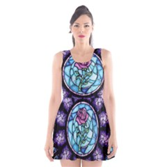 Cathedral Rosette Stained Glass Beauty And The Beast Scoop Neck Skater Dress