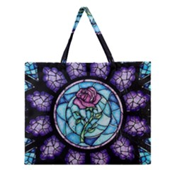 Cathedral Rosette Stained Glass Beauty And The Beast Zipper Large Tote Bag