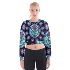 Cathedral Rosette Stained Glass Beauty And The Beast Women s Cropped Sweatshirt