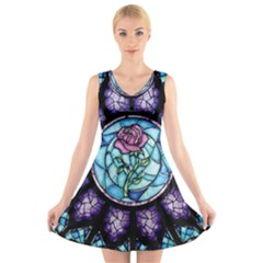 Cathedral Rosette Stained Glass Beauty And The Beast V-Neck Sleeveless Skater Dress