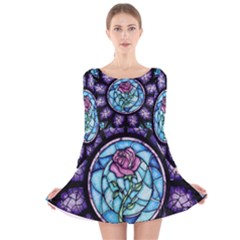 Cathedral Rosette Stained Glass Beauty And The Beast Long Sleeve Velvet Skater Dress