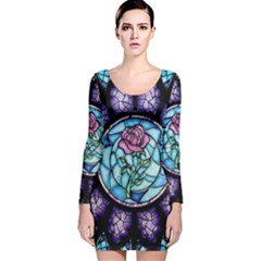 Cathedral Rosette Stained Glass Beauty And The Beast Long Sleeve Velvet Bodycon Dress