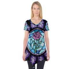 Cathedral Rosette Stained Glass Beauty And The Beast Short Sleeve Tunic
