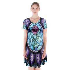 Cathedral Rosette Stained Glass Beauty And The Beast Short Sleeve V-neck Flare Dress