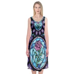 Cathedral Rosette Stained Glass Beauty And The Beast Midi Sleeveless Dress