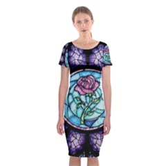 Cathedral Rosette Stained Glass Beauty And The Beast Classic Short Sleeve Midi Dress