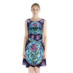 Cathedral Rosette Stained Glass Beauty And The Beast Sleeveless Chiffon Waist Tie Dress