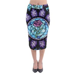 Cathedral Rosette Stained Glass Beauty And The Beast Midi Pencil Skirt