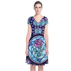 Cathedral Rosette Stained Glass Beauty And The Beast Short Sleeve Front Wrap Dress
