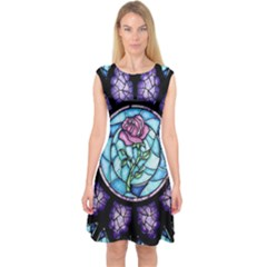 Cathedral Rosette Stained Glass Beauty And The Beast Capsleeve Midi Dress