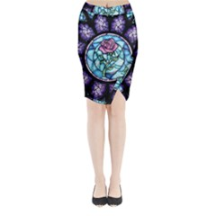 Cathedral Rosette Stained Glass Beauty And The Beast Midi Wrap Pencil Skirt