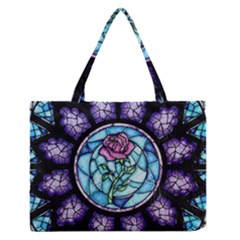 Cathedral Rosette Stained Glass Beauty And The Beast Medium Zipper Tote Bag