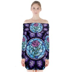 Cathedral Rosette Stained Glass Beauty And The Beast Long Sleeve Off Shoulder Dress