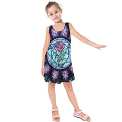 Cathedral Rosette Stained Glass Beauty And The Beast Kids  Sleeveless Dress