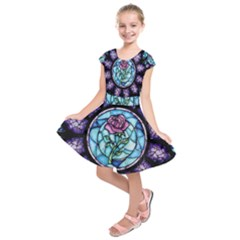 Cathedral Rosette Stained Glass Beauty And The Beast Kids  Short Sleeve Dress