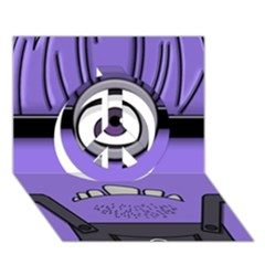 Evil Purple Peace Sign 3D Greeting Card (7x5)