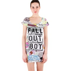 Fall Out Boy Lyric Art Short Sleeve Bodycon Dress