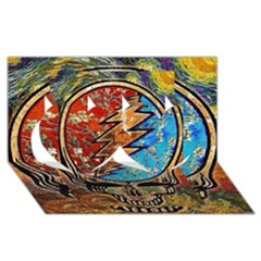 Grateful Dead Rock Band Twin Hearts 3d Greeting Card (8x4)