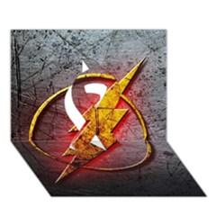 Grunge Flash Logo Ribbon 3d Greeting Card (7x5)