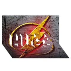 Grunge Flash Logo Hugs 3d Greeting Card (8x4)