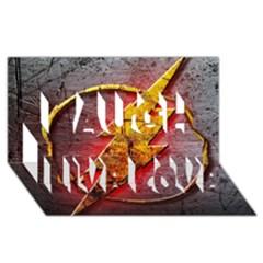 Grunge Flash Logo Laugh Live Love 3d Greeting Card (8x4)