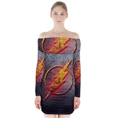 Grunge Flash Logo Long Sleeve Off Shoulder Dress