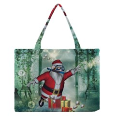 Funny Santa Claus In The Underwater World Medium Zipper Tote Bag