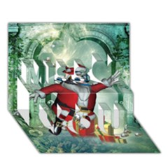 Funny Santa Claus In The Underwater World Miss You 3d Greeting Card (7x5)