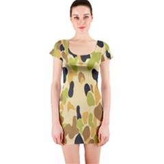Army Camouflage Pattern Short Sleeve Bodycon Dress