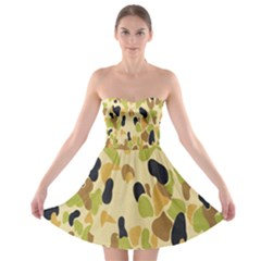 Army Camouflage Pattern Strapless Bra Top Dress