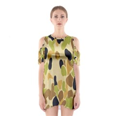 Army Camouflage Pattern Cutout Shoulder Dress