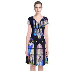 Art Christianity Church Church Window Short Sleeve Front Wrap Dress