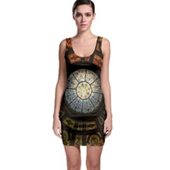 Black And Borwn Stained Glass Dome Roof Sleeveless Bodycon Dress