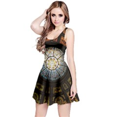 Black And Borwn Stained Glass Dome Roof Reversible Sleeveless Dress