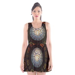 Black And Borwn Stained Glass Dome Roof Scoop Neck Skater Dress