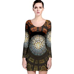 Black And Borwn Stained Glass Dome Roof Long Sleeve Velvet Bodycon Dress