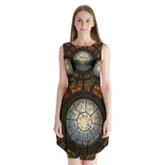 Black And Borwn Stained Glass Dome Roof Sleeveless Chiffon Dress