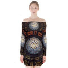 Black And Borwn Stained Glass Dome Roof Long Sleeve Off Shoulder Dress