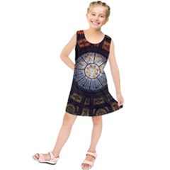 Black And Borwn Stained Glass Dome Roof Kids  Tunic Dress