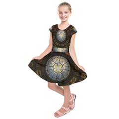 Black And Borwn Stained Glass Dome Roof Kids  Short Sleeve Dress