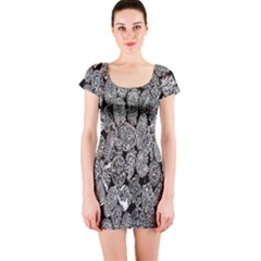 Black And White, Art, Pattern, Historical Short Sleeve Bodycon Dress