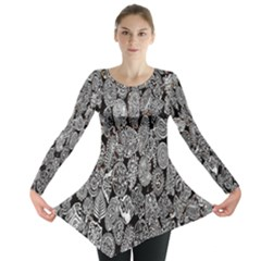Black And White, Art, Pattern, Historical Long Sleeve Tunic