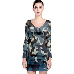 Blue Water Camouflage Long Sleeve Bodycon Dress