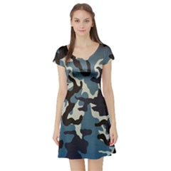 Blue Water Camouflage Short Sleeve Skater Dress